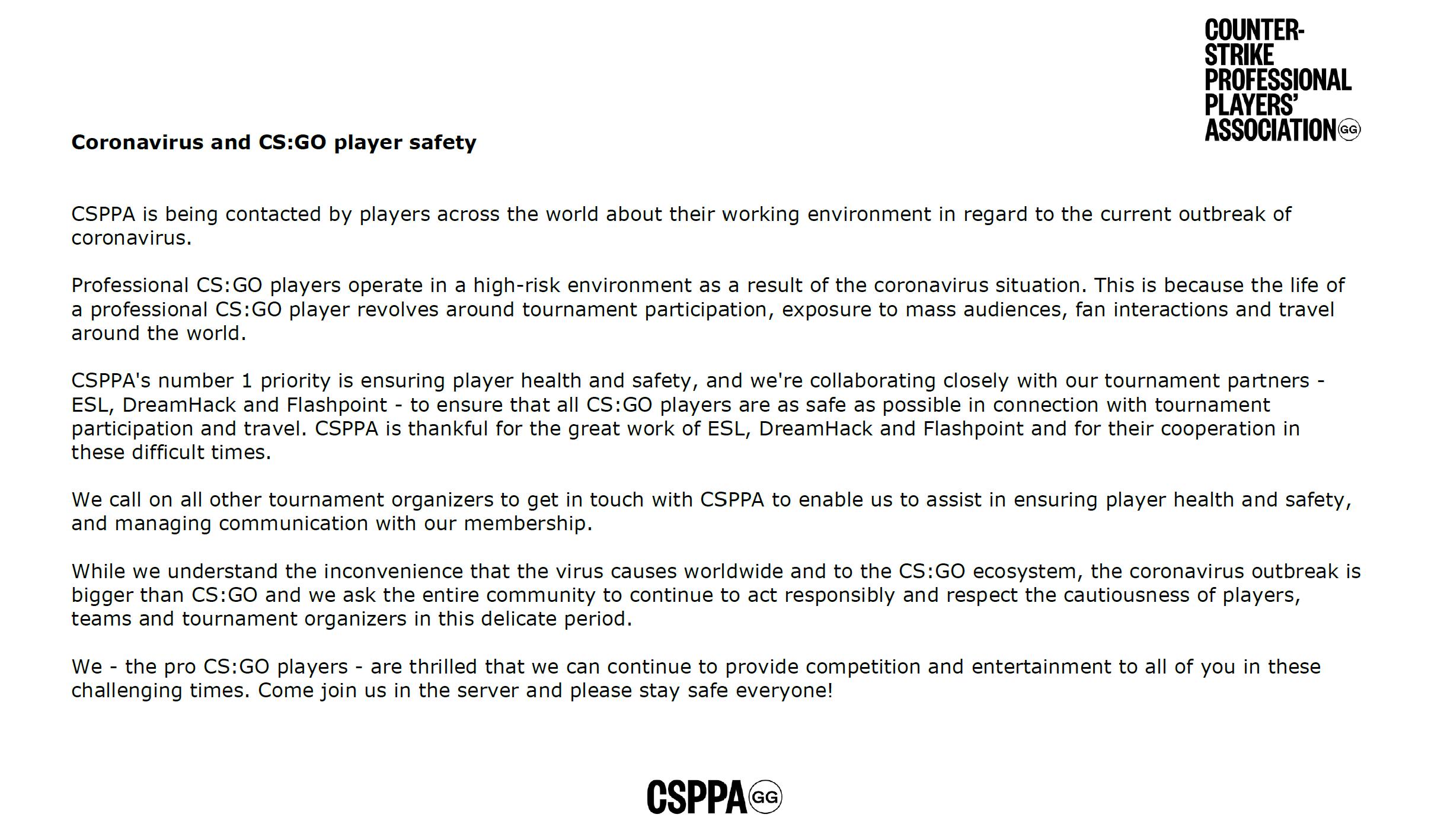 CSPPA發文致謝主辦方的付出,呼吁嚴肅對待疫情爆發